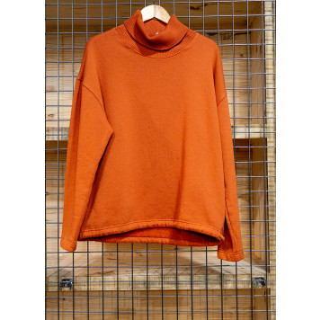 Sweat col roulé orange